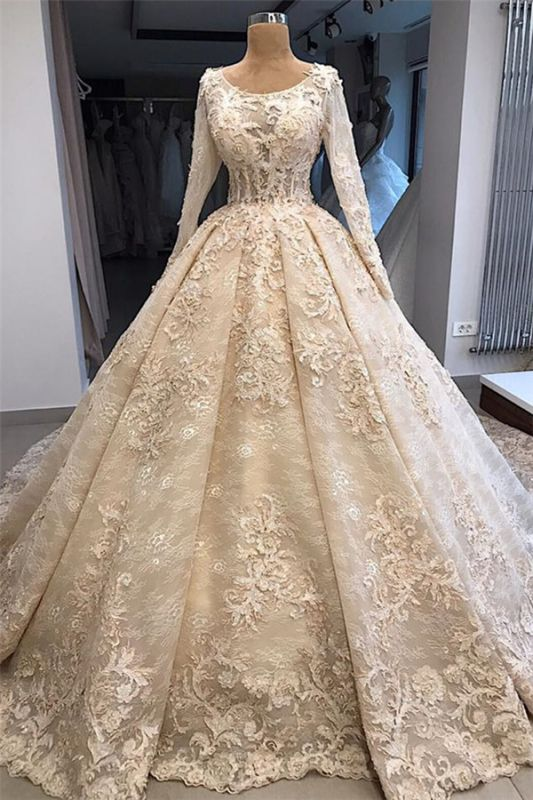 Gorgeous Long Sleeve Lace Appliques Retro Ball Gown Wedding Dresses Cheap