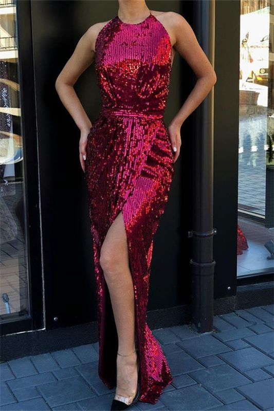 Glamorous Halter Sleeveless Sequins Front Split Sexy Mermaid Floor-Length Prom Dresses