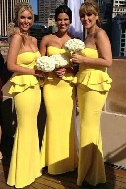 Ruffles Bright-Yellow Long Peplum Mermaid Bridesmaid Dresses