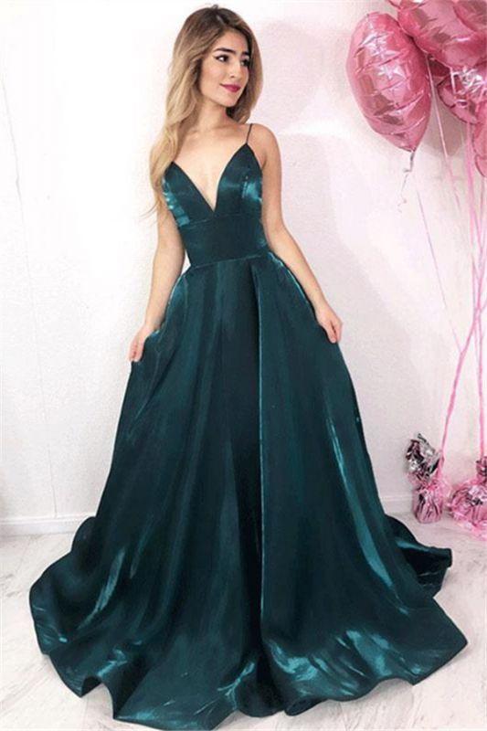 Chic V-Neck Spaghetti Straps A-Line Sleeveless Cheap Prom Dresses