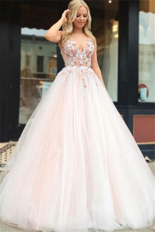 Gorgeous A-Line Straps V-Neck Sleeveless Beads Lace Appliques Floor-Length Prom Dresses