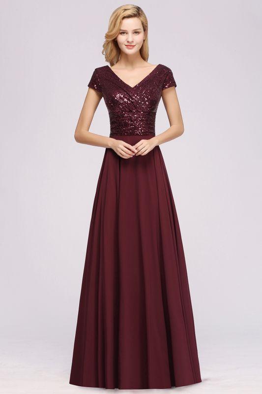 Elegant A-Line Burgundy Chiffon Sequined V-Neck Sleeveless Ruffles Floor-Length Bridesmaid Dresses