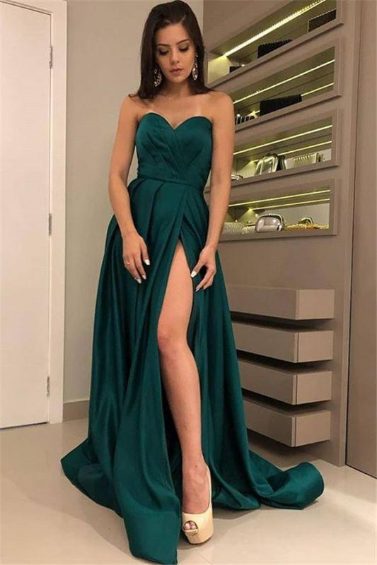 Sexy Strapless Front Split Sleeveless Floor-Length A-Line Prom Dresses