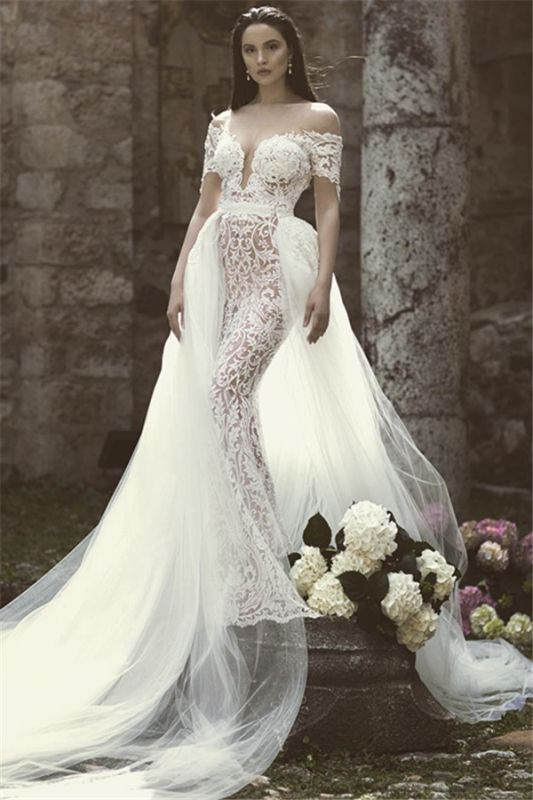Modern Off The Shoulder V-Neck Lace Appliques Tulle Sexy Mermaid Floor Length Cheap Wedding Dresses