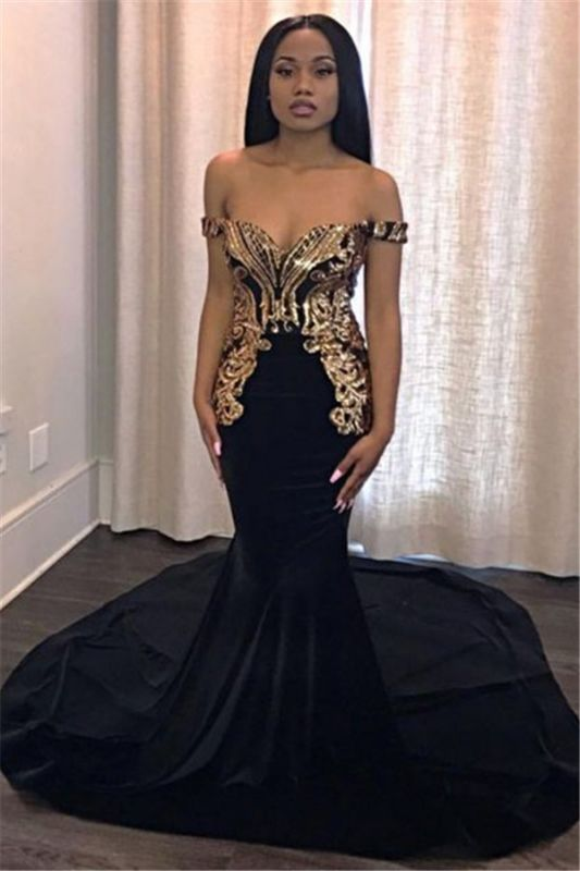 Unique Off-the-Shoulder Lace Appliques Sexy Mermaid Sweep Train Prom Dresses