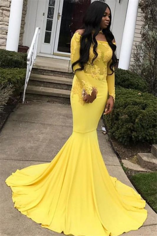 Glamorous Off-the-Shoulder Long Sleeves Lace Appliques Sexy Mermaid Floor-Length Prom Dresses