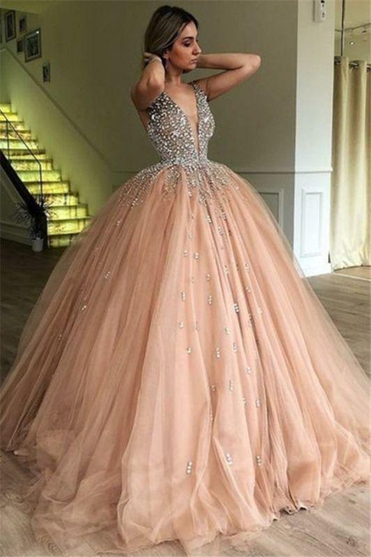New Arrival V-Neck Straps Sleeveless Rhinestones Tulle Ball Gown Prom Dresses