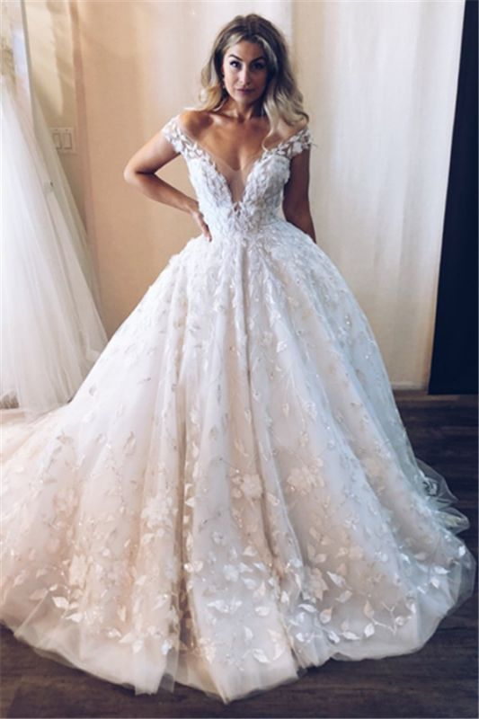 New Arrival Off The Shoulder V-Neck Lace Appliques Tulle Cheap Ball Gown Wedding Dresses