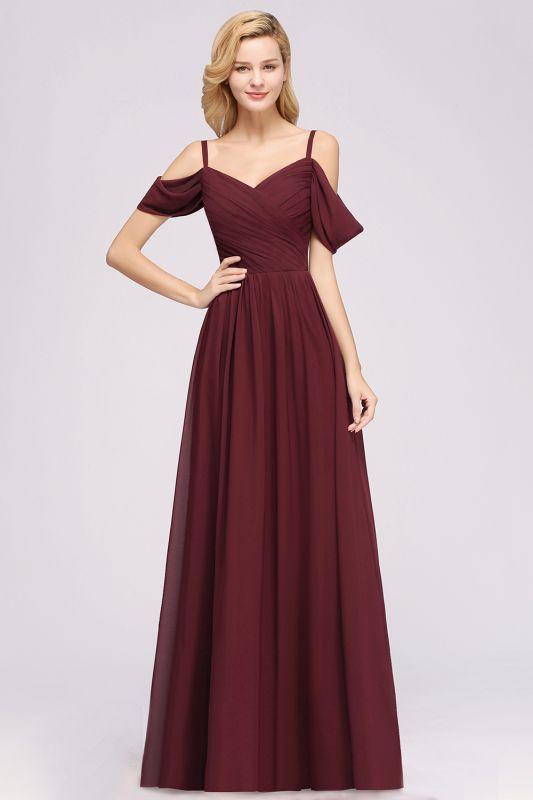 Chiffon V-Neck Spaghetti Straps Short-Sleeves Floor-Length Bridesmaid Dresses with Ruffles