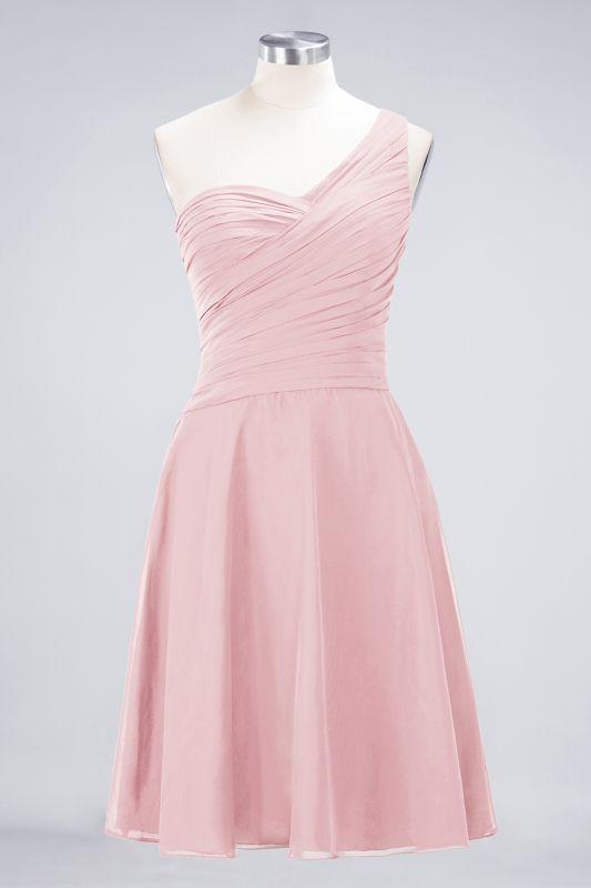 Elegant Princess Chiffon One-Shoulder Sweetheart Sleeveless Knee-Length Bridesmaid Dress with Ruffles