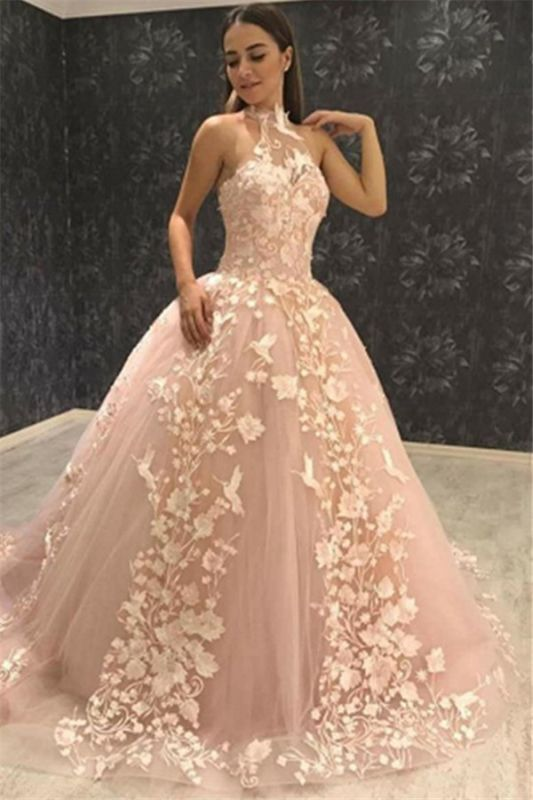 Chic Halter Sleeveless Tulle Lace Appliques Ball Gown Prom Dresses