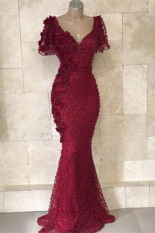 Mordern V-Neck Short Sleeves Beads Flower Sexy Mermaid Floor-Length Prom Dresses