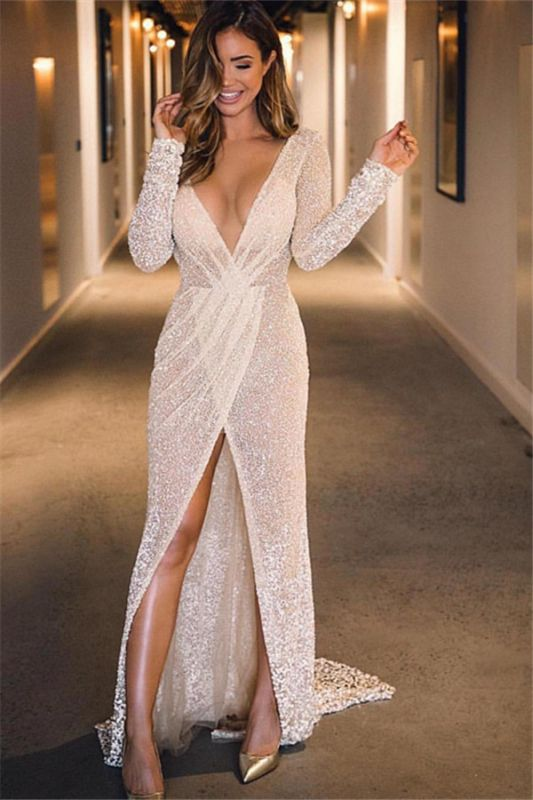 Sexy Deep V-Neck Long Sleeves Front Split A-Line Floor-Length Prom Dresses