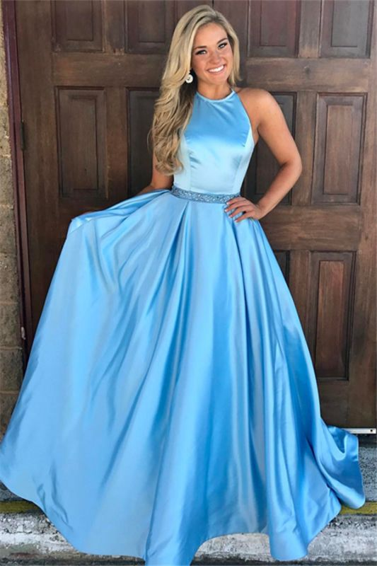 Cheap Round Neck Sleeveless A-Line Lace Floor-Length Prom Dresses