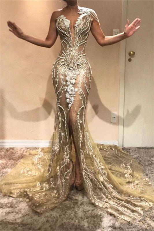 Gorgeous A-Line One Shoulder Beads Lace Appliques Front Split Prom Dresses