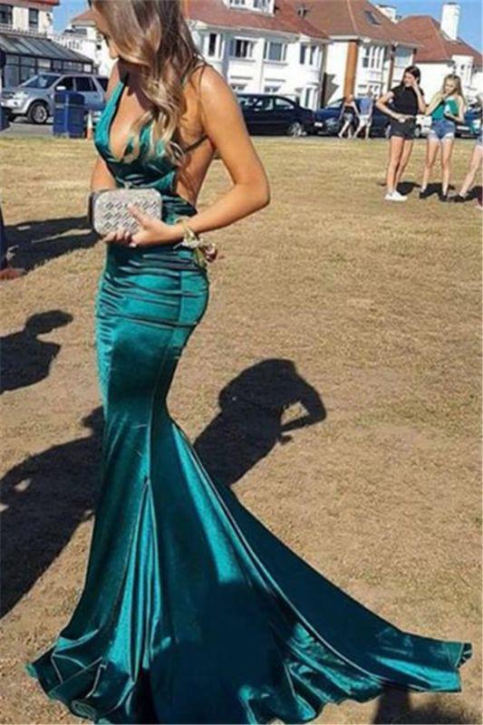 Gorgeous Spaghetti Straps V-Neck Backless Sleeveless Sexy Mermaid Floor-Length Prom Dresses