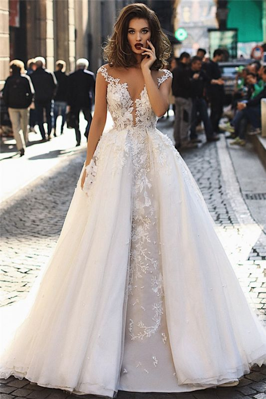 Modern Sleeveless Lace Wedding Dresses Cheap | Fluffy Tulle Overskirt Sexy Illsuion Bridal Gowns
