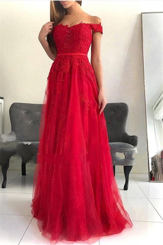 Glamorous Off-the-Shoulder Lace Appliques Tulle A-Line Floor-Length Prom Dresses
