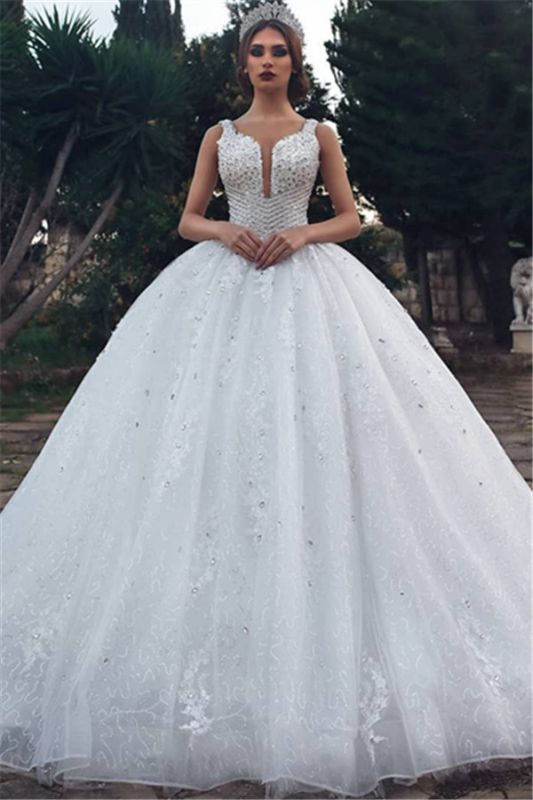 Elegant Straps Sleeveless Lace Appliques V-Neck Rhinestones Ball Gown Wedding Dresses Cheap