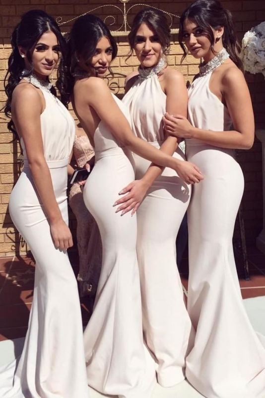 Glamorous Halter Sexy Mermaid Bridesmaid Dresses | Sexy Ruched Long Wedding Party Dresses