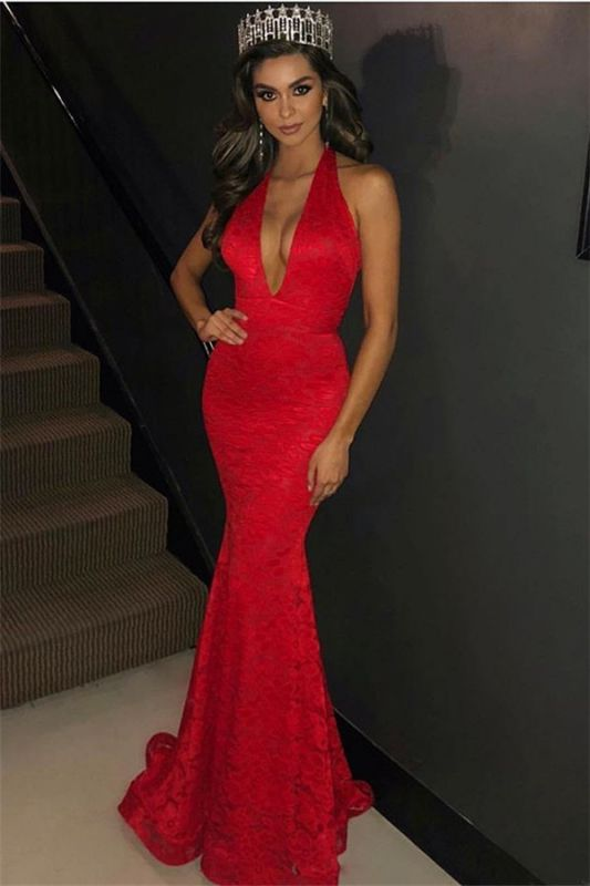 Charming Halter Sleeveless Sexy Mermaid Deep V-Neck Lace Appliques Prom Dresses