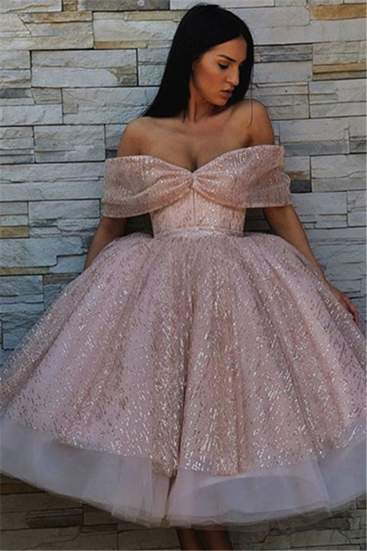 Charming Off-the-Shoulder Ball Gown Tulle Tea-Length Prom Dresses