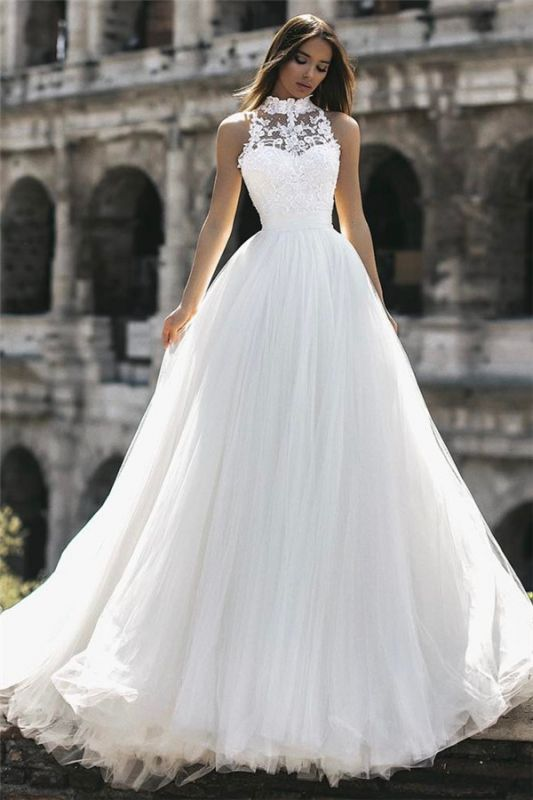 Modern High Neck Sleeveless Lace Appliques A-Line Floor Length Cheap Wedding Dresses