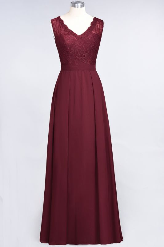 Elegant Princess Chiffon Lace V-Neck Sleeveless Floor-Length Bridesmaid Dress