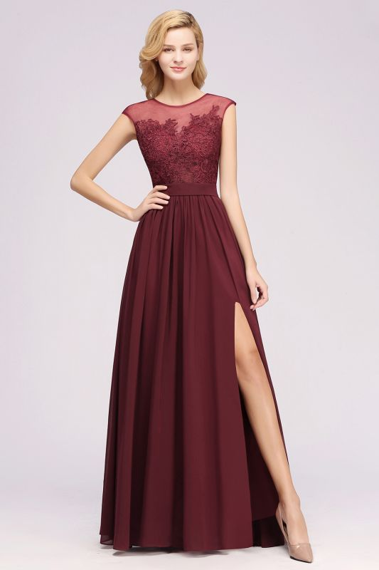 A-line Chiffon Lace Jewel Sleeveless Floor-Length Bridesmaid Dresses with Appliques