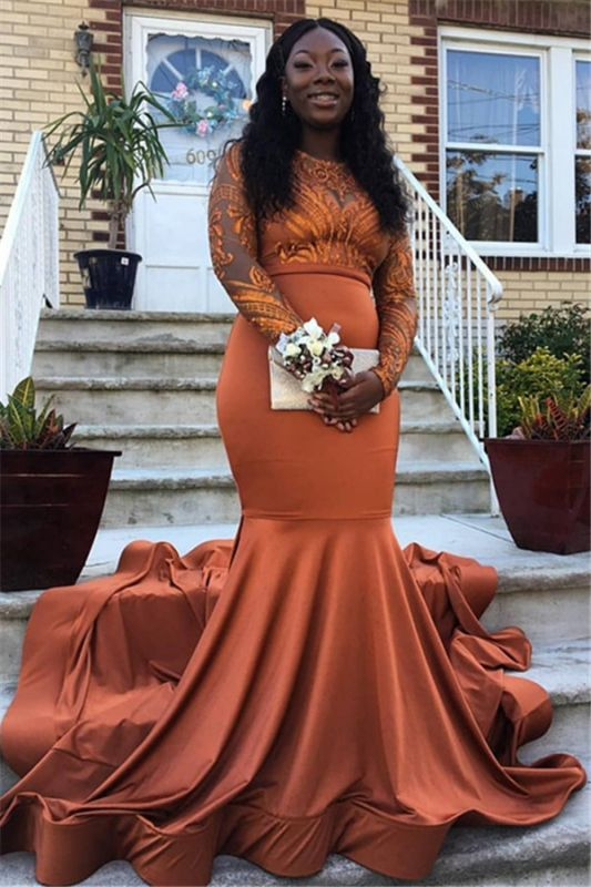 Gorgeous Round Neck Lace Appliques Long Sleeves Sexy Mermaid Floor-Length Prom Dresses