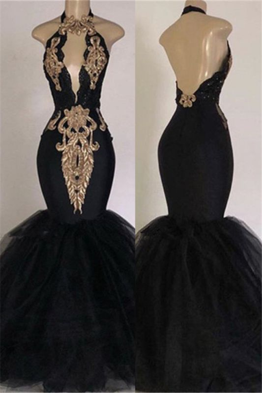 Open Back Long Prom Dresses Cheap with Gold Appliques | Mermaid Halter Evening Gowns with Keyhole