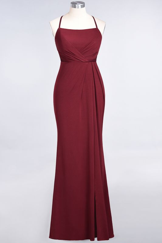 Elegant Mermaid spandex Lace Spaghetti-Straps Sleeveless Floor-Length Bridesmaid Dress with Ruffle