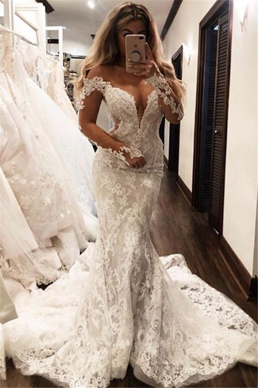 Gorgeous Off The Shoulder Long Sleeve V-Neck Lace Appliques Sexy Mermaid Floor Length Cheap Wedding Dresses