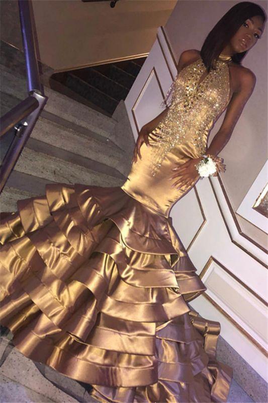 Glamorous Gold Mermaid High Neck Sleeveless Ruffles Crystal Prom Dresses