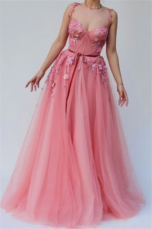Pink  A-line Spaghetti Tulle Flower Applique Prom Dresses