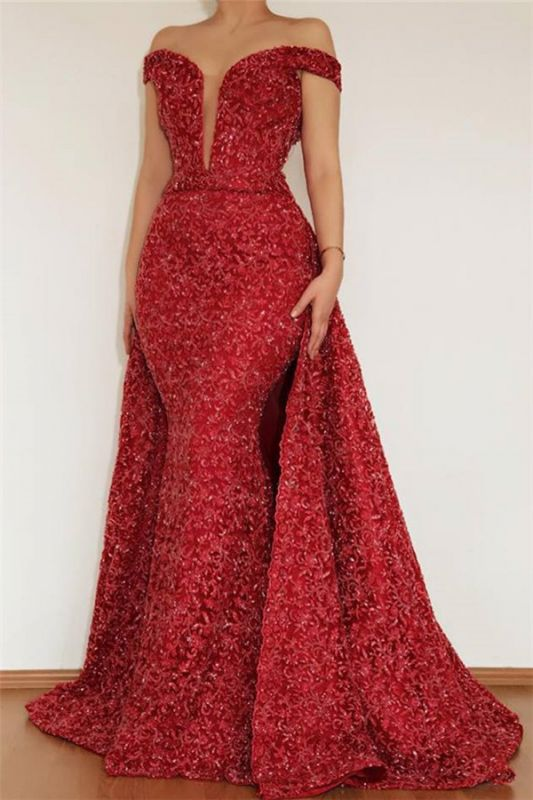 Burgundy Glamorous Mermaid Off The Shoulder Lace Appliques Prom Dress With Detachable Skirt
