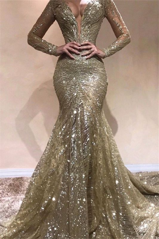 Sexy Mermaid V-Neck Long Sleeves Sequins Prom Dresses