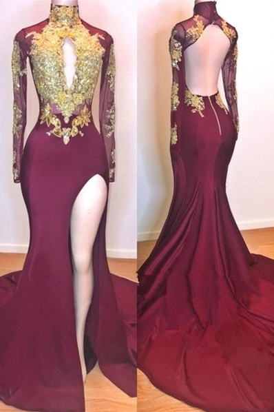 Burgundy Gold Appliques Evening Gowns | Long Sleeve Side Slit Open Back Mermaid Long Prom Dresses Cheap