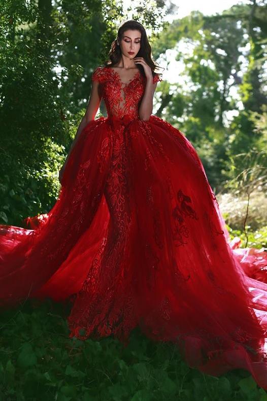 Red Over-Skirt Lace V-Neck Glamorous Applique Prom Dresses BA7655