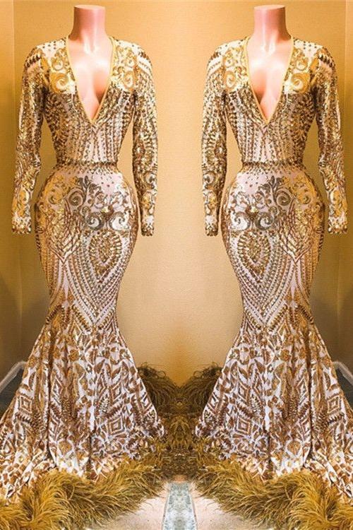Stunning Sequins Long Sleeves V-neck Mermaid Prom Dresses