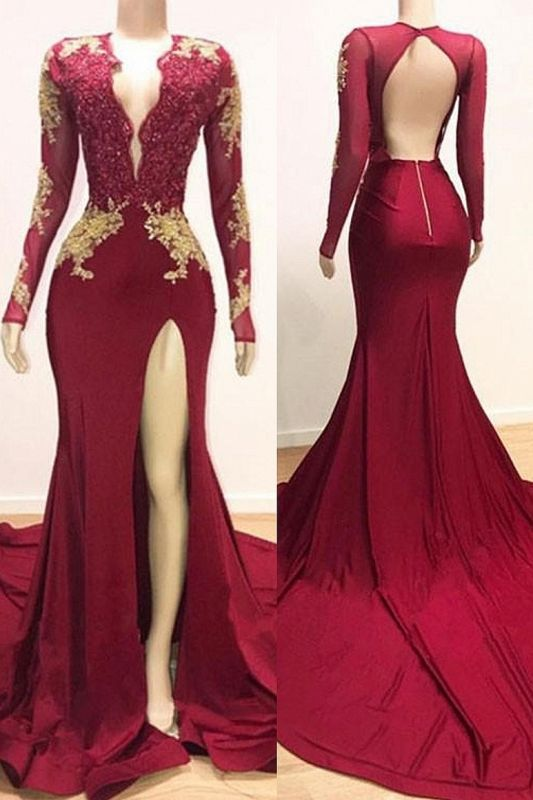 Deep V-neck Long Sleeve Prom Dresses Cheap with Slit | Lace Appliques Sexy Burgundy Evening Gowns