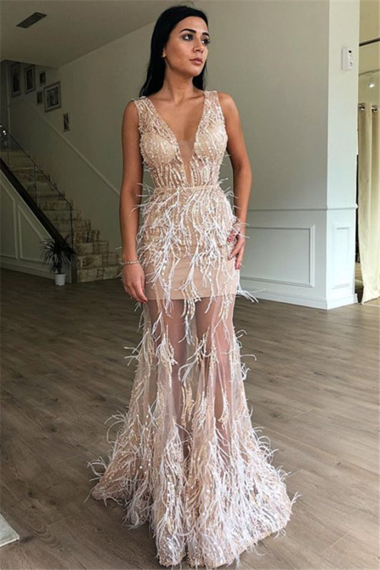 Elegant A-Line Sleeveless Sheer Tulle Feather Prom Dresses