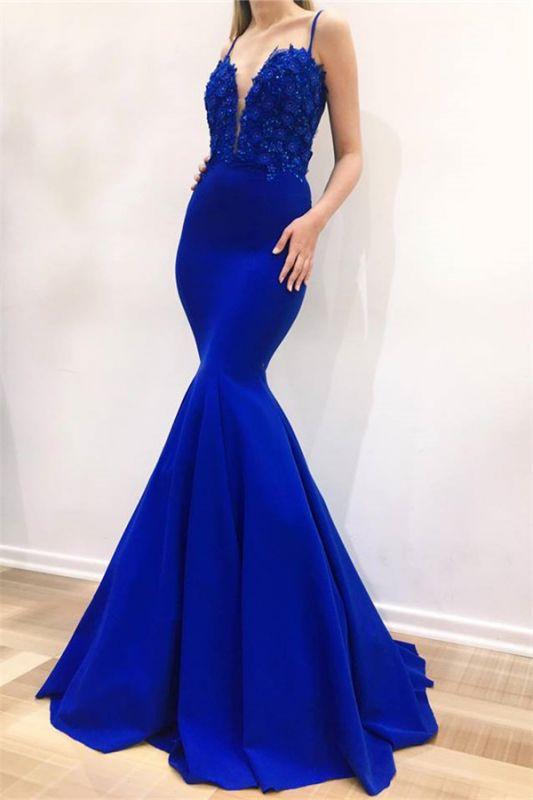 Elegant Mermaid Spaghetti Straps Sleeveless Appliques Evening Dresses