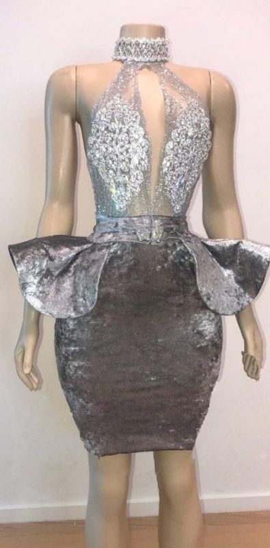 Sexy Backless Silver Velvet Short Prom Dresses   Halter Keyhole Lace Appliques Homecoming Dresses Cheap