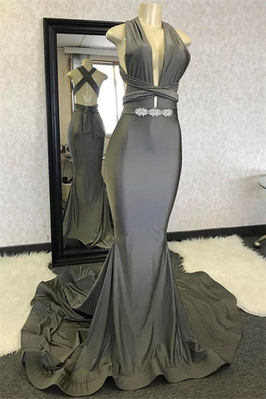 Sexy Mermaid Halter Sleeveless Crystal Cris-Cross Long Prom Dresses Cheap