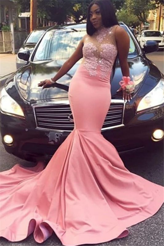 Pink Appliques Sheer Tulle Mermaid Prom Dresses   2021 Cheap High-Neck Sleeveless Evening Gowns