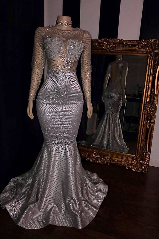 Elegant Appliques Sheer Tulle Prom Dresses | Sliver Long Sleeves Mermaid Evening Gowns