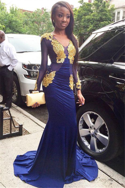 Glamorous Mermaid V-Neck Long Sleeves Velvet Gold Appliques Prom Dresses