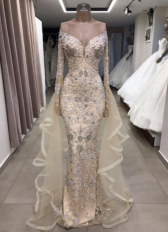 Luxury Long Sleeve Off The Shoulder Long Prom Dresses Cheap with Full Beads