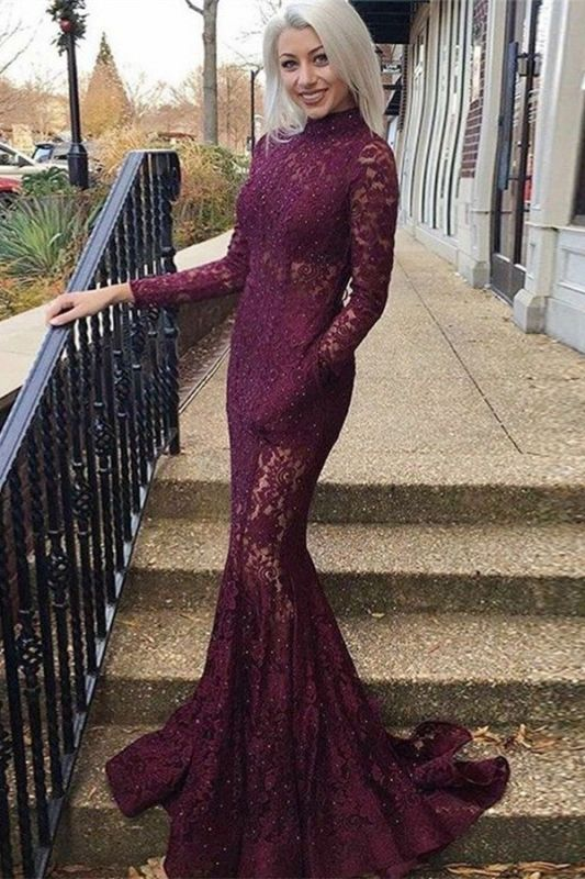 Gorgeous Mermaid Lace High Neck Long Sleeves Prom Dresses